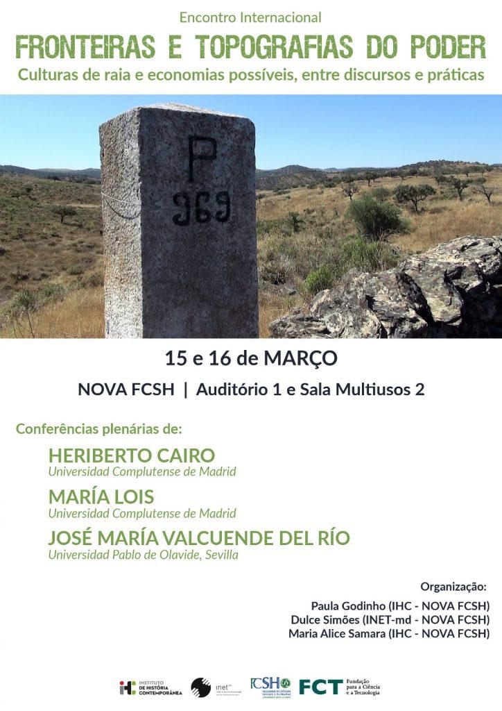Cartaz do encontro internacional Fronteiras e Topografias do Poder