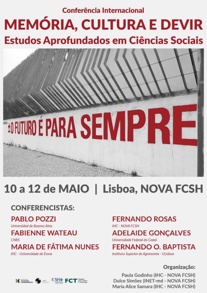 """Cartaz da conferência internacional """"Memória, Cultura e Devir"""""""