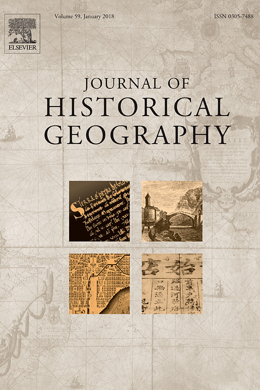Capa do Volume 59 do Journal of Historical Geography (2018)