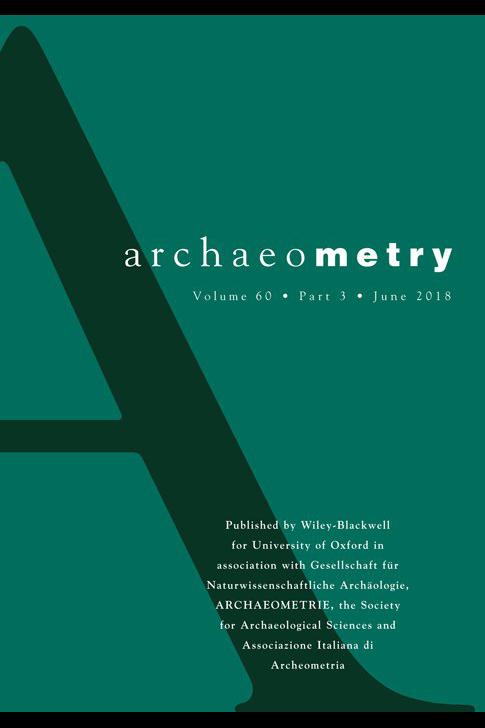 Capa do Volume 60 da revista Archaeometry, de 2018