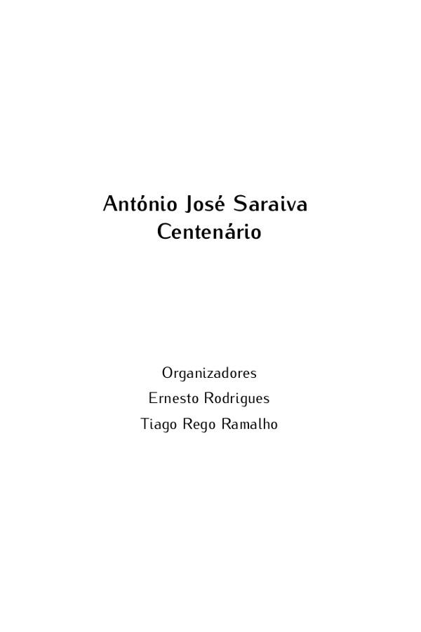 Imagem alusiva ao livro António José Saraiva Centenário