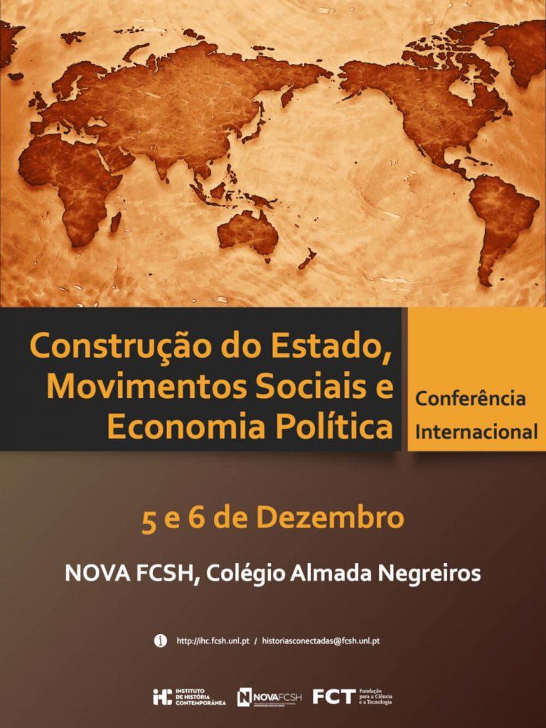 """Cartaz da conferência internacional """"Construção do Estado, Movimentos Sociais e Economia Política"""""""