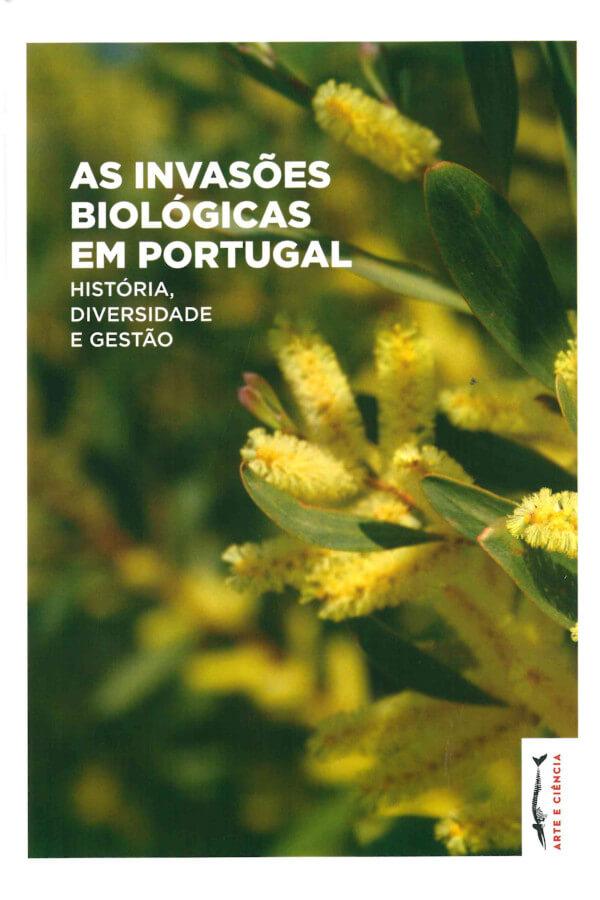 """Capa do livro """"As Invasões Biológicas em Portugal"""", com uma fotografia de flores de mimosa"""