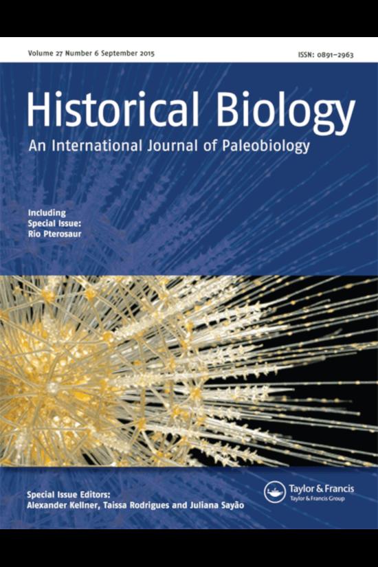 Capa do número 6 do volume 21 da revista Historical Biology