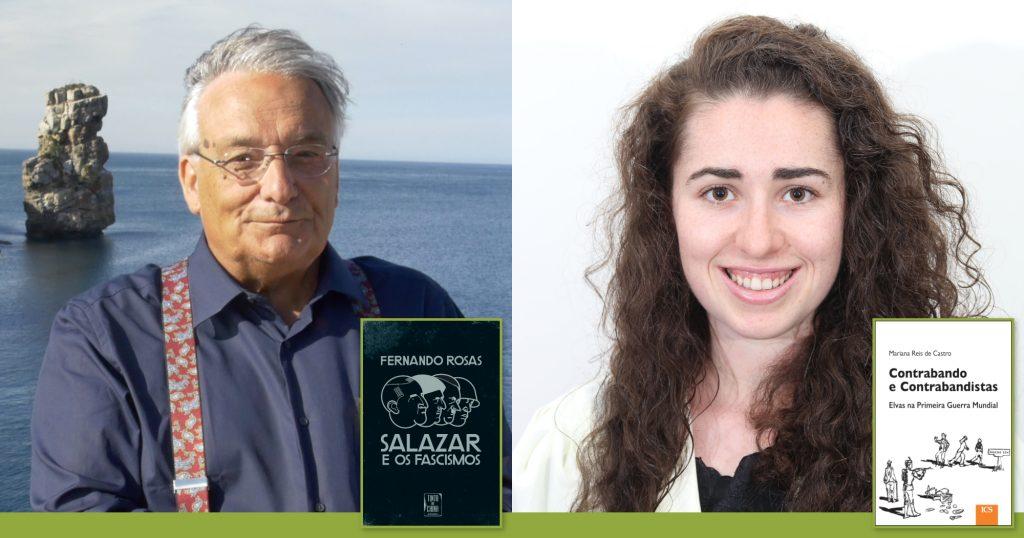 Fotografia de Fernando Rosas e Mariana Castro, com as capas dos livros premiados pela APH em 2019