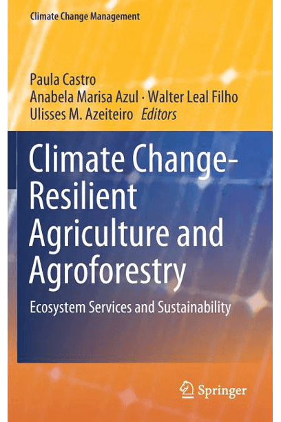 """Capa do livro """"Climate Change-Resilient Agriculture and Agroforestry"""""""