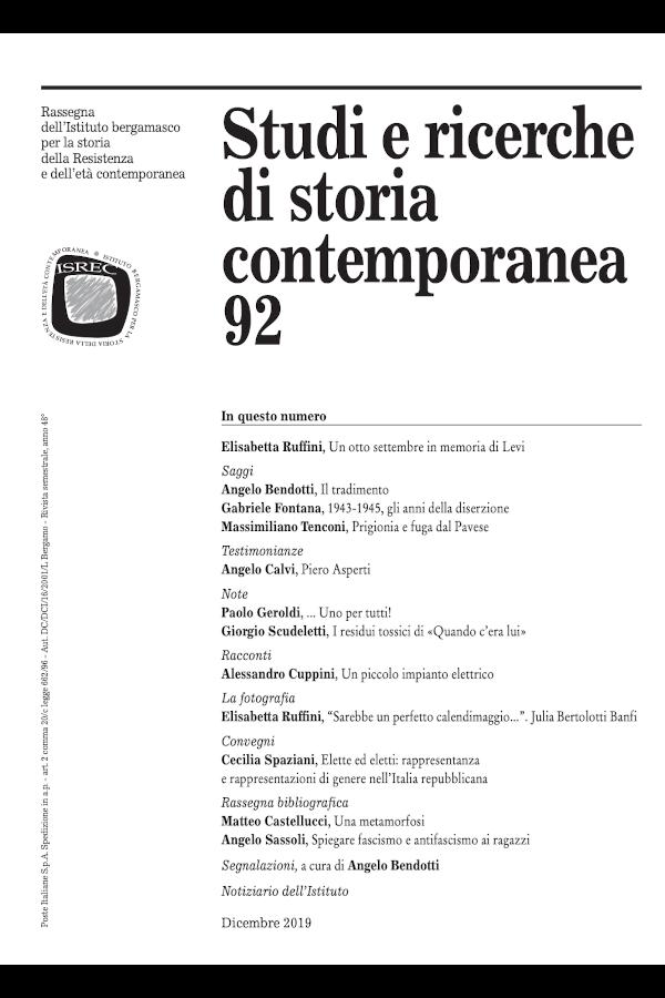 Capa do número 92 da revista Studi e ricerche di storia contemporanea