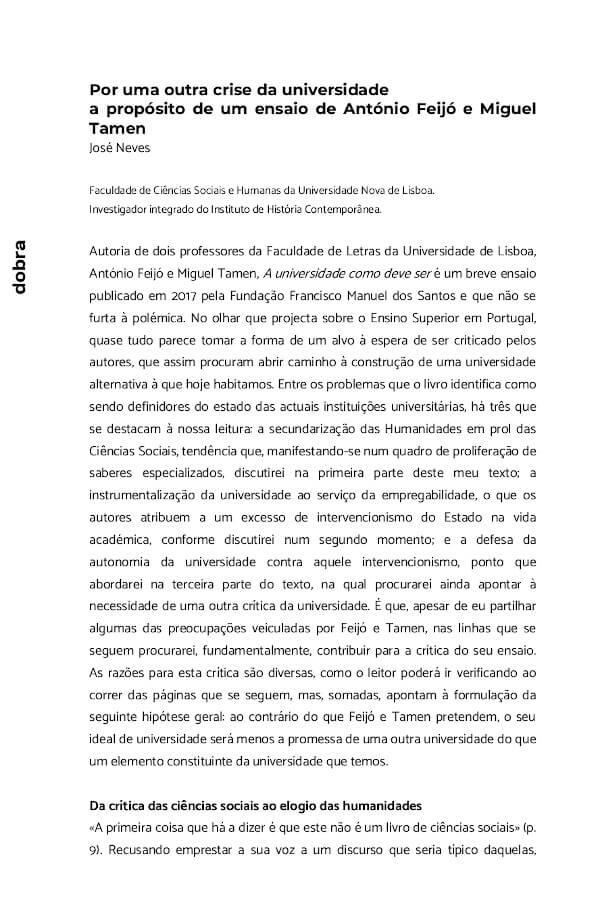 """Primeira página do artigo """"Por uma outra crise da universidade a propósito de um ensaio de António Feijó e Miguel Tamen"""", de José Neves, publicado na Dobra em 2019"""