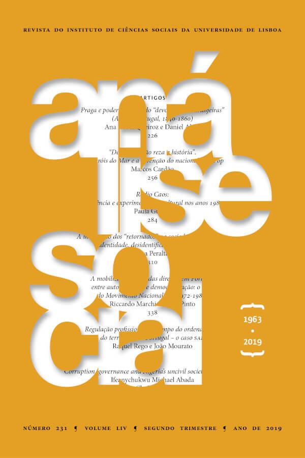 Capa do número 231, volume 54, da revista Análise Social