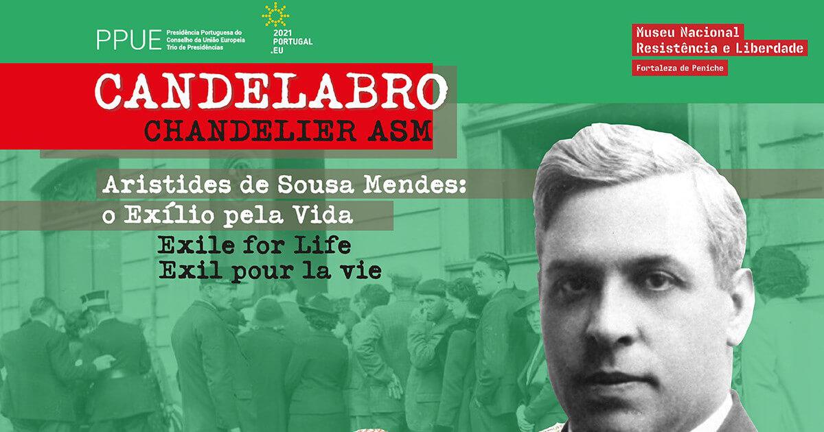 """Detalhe do cartaz da exposição """"Candelabro ASM — Aristides de Sousa Mendes: o Exílio pela Vida"""""""