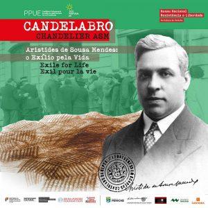 """Cartaz da exposição """"Candelabro ASM — Aristides de Sousa Mendes: o Exílio pela Vida"""""""