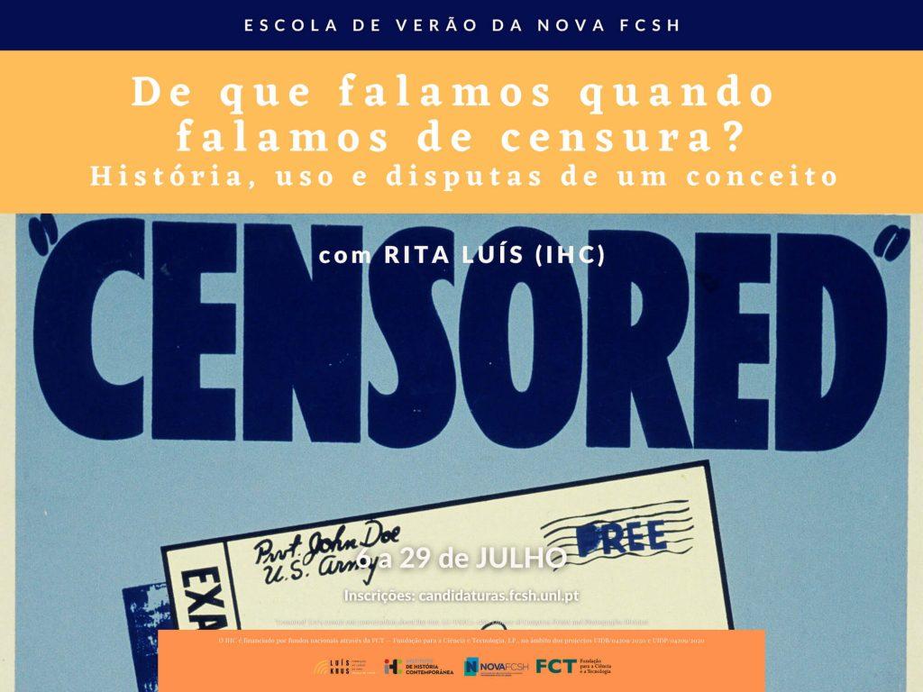 """Cartaz do curso """"De que falamos quando falamos de censura?"""" da Escola de Verão da NOVA FCSH 2021"""