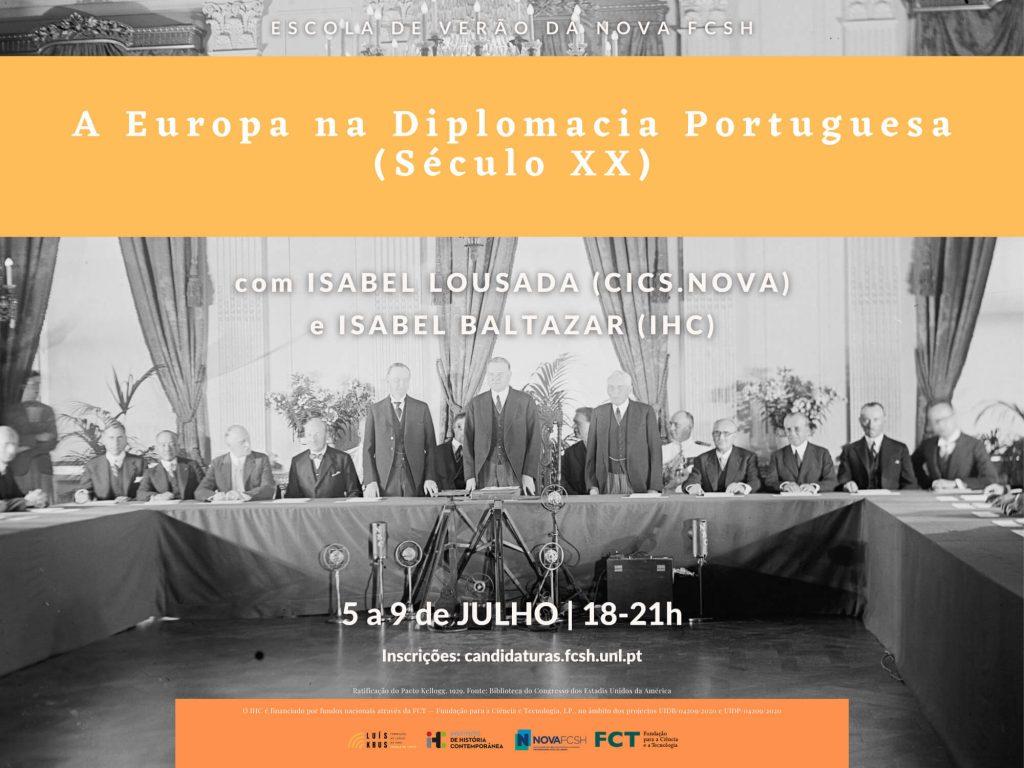 """Cartaz do curso """"A Europa na Diplomacia Portuguesa (Século XX)"""" da Escola de Verão da NOVA FCSH 2021"""