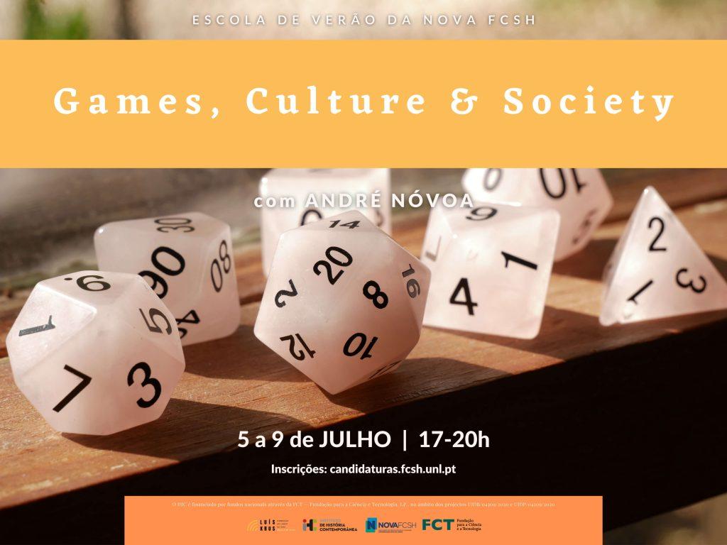 """Cartaz do curso """"Games, Culture & Society"""" da Escola de Verão da NOVA FCSH 2021"""