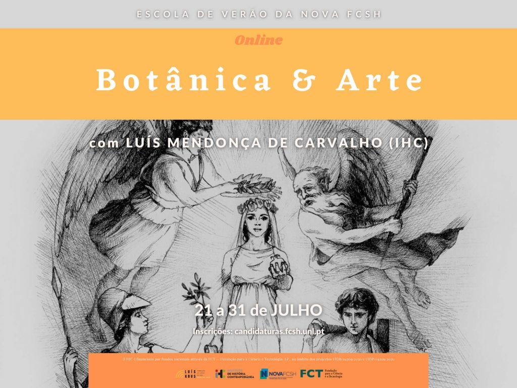 """Cartaz do curso """"Botânica e Arte"""" da Escola de Verão da NOVA FCSH 2021"""