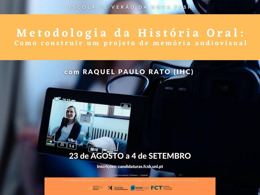 """Cartaz do curso """"Metodologia da História Oral"""" da Escola de Verão da NOVA FCSH 2021"""