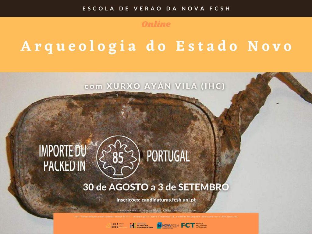 """Cartaz do curso """"Arqueologia do Estado Novo"""" da Escola de Verão da NOVA FCSH 2021"""