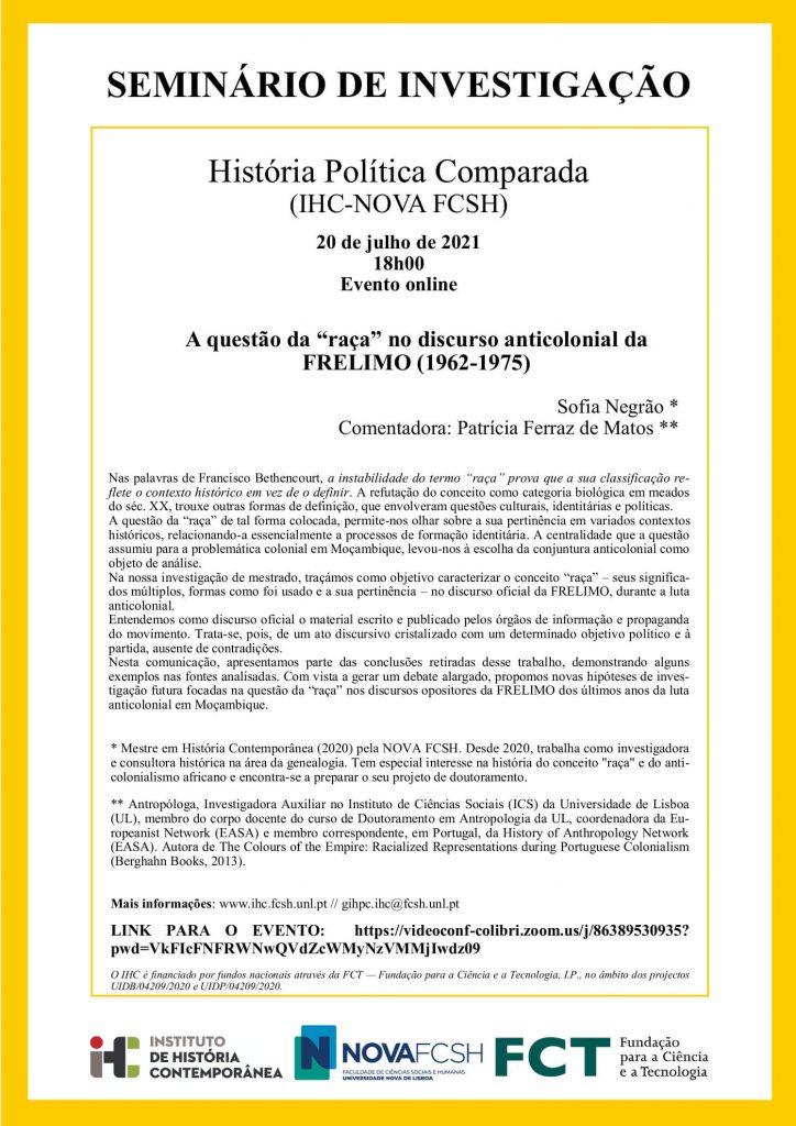"""Cartaz do seminário de investigação """"A questão da """"raça"""" no discurso anticolonial da FRELIMO (1962-1975)"""""""