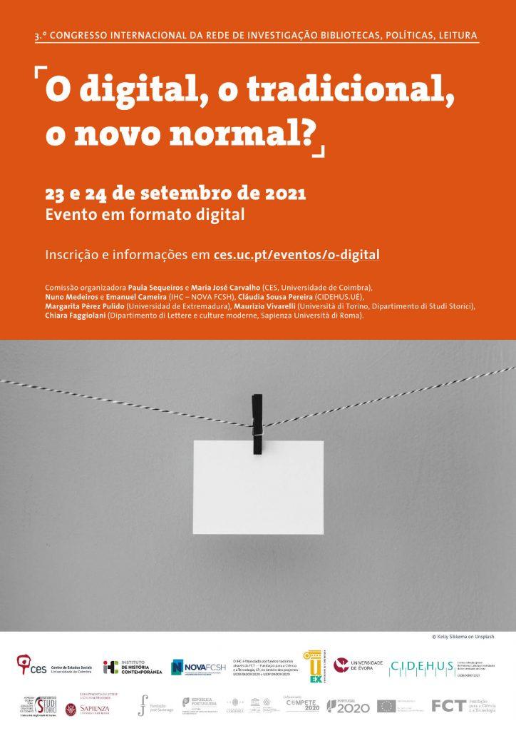 Cartaz do Terceiro Congresso Internacional da Rede de Investigação Bibliotecas, Políticas, Leitura