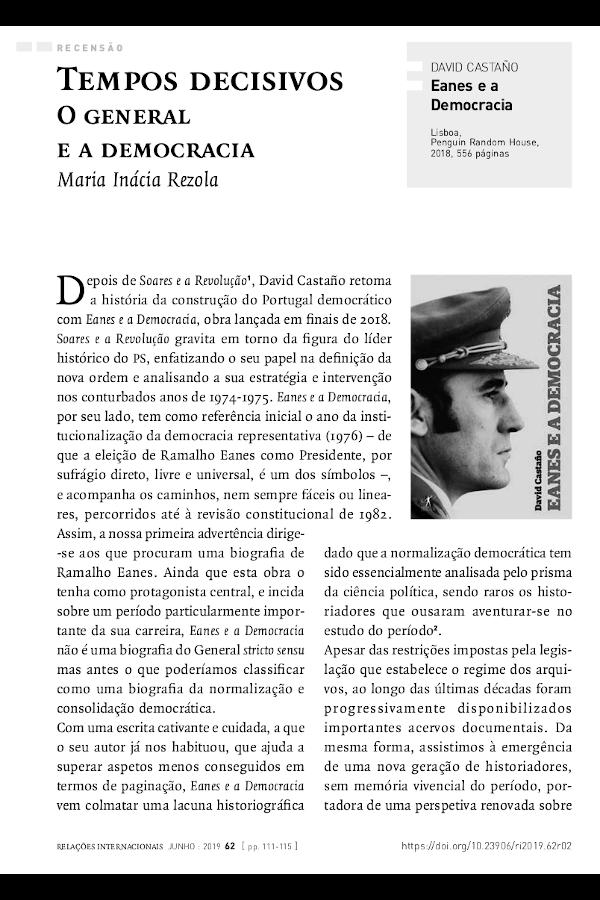 """Primeira página do artigo """"Tempos decisivos: O General e a democracia"""", de Maria Inácia Rezola"""