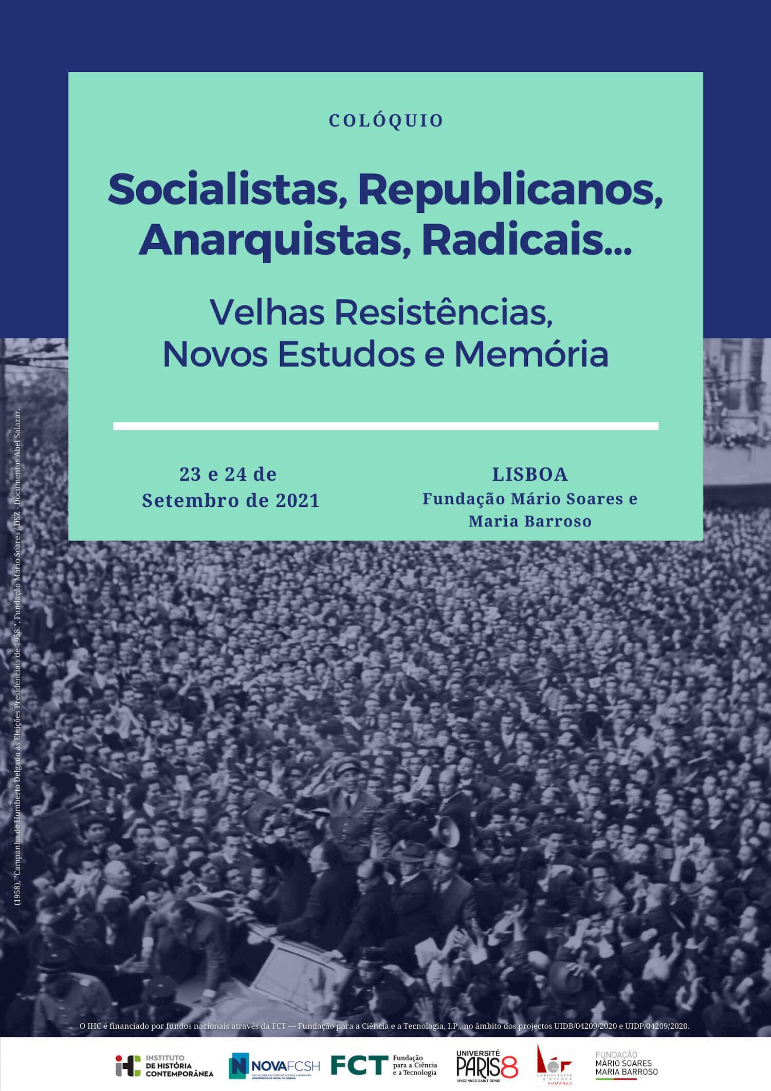"""Poster for the coloquium """"Socialistas, Republicanos, Anarquistas, Radicais..."""""""