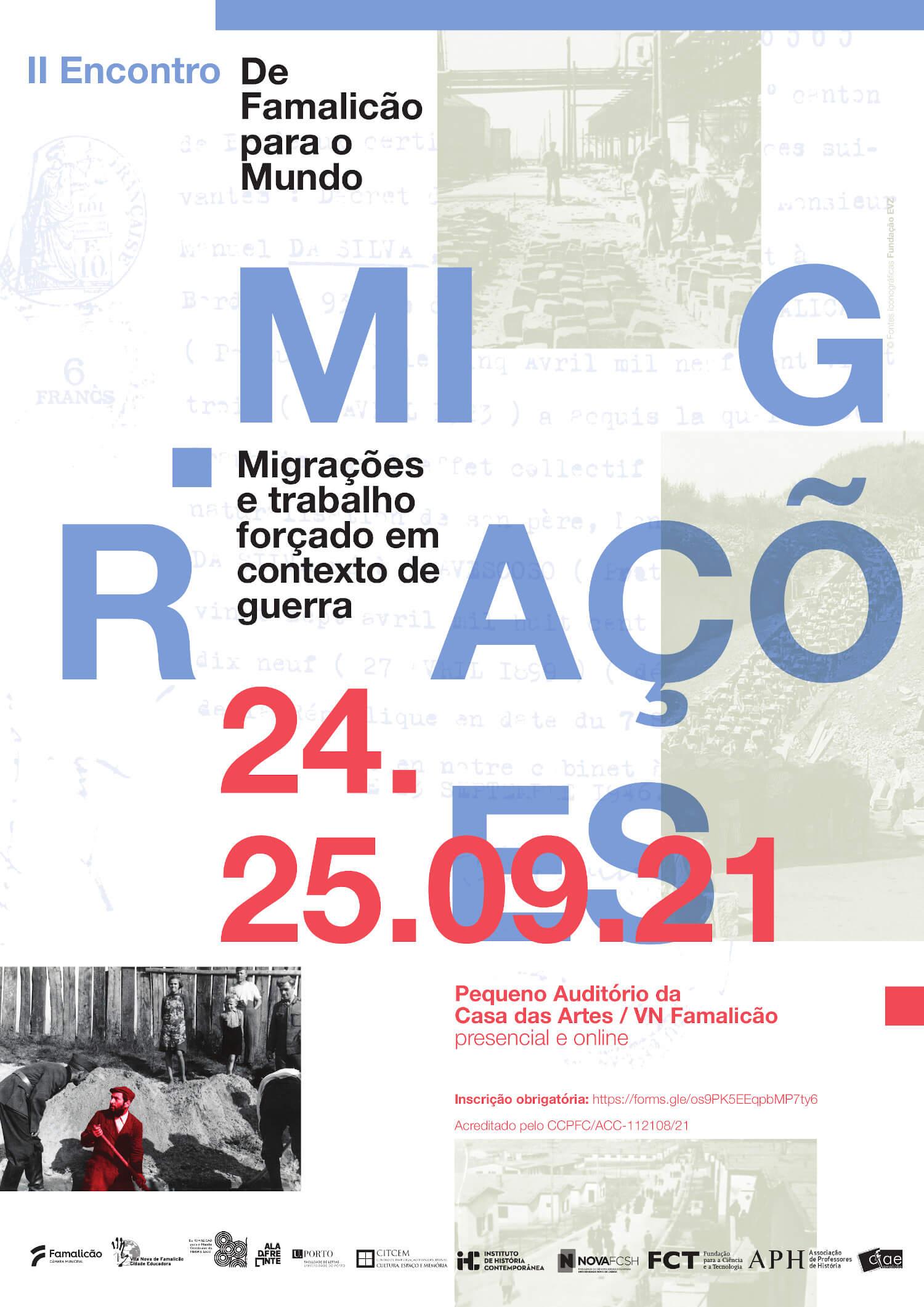 """Cartaz do II Encontro De Famalicão para o Mundo """"Migrações e trabalho forçado em contexto de guerra"""""""