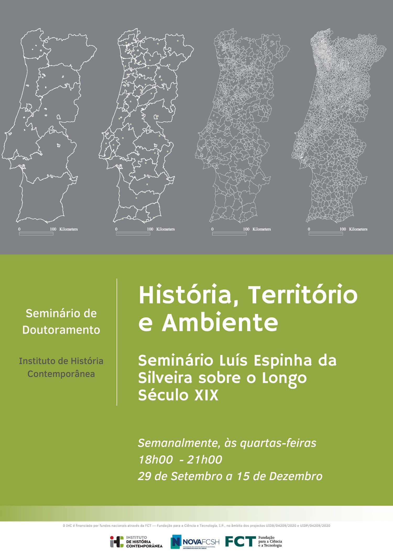 """Cartaz do seminário """"História, Território e Ambiente: Seminário Luís Espinha da Silveira sobre o Longo Século XIX"""""""