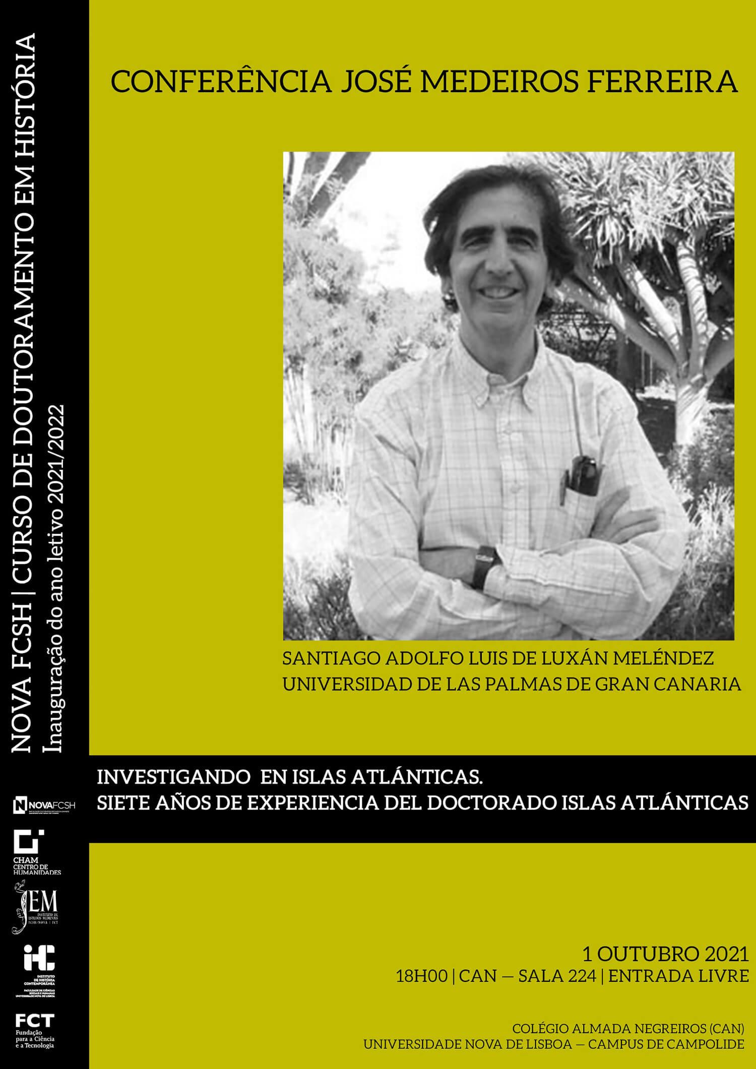 """Cartaz da conferência """"Investigando en Islas Atlánticas. Siete años de experiencia del Doctorado Islas Atlánticas"""""""