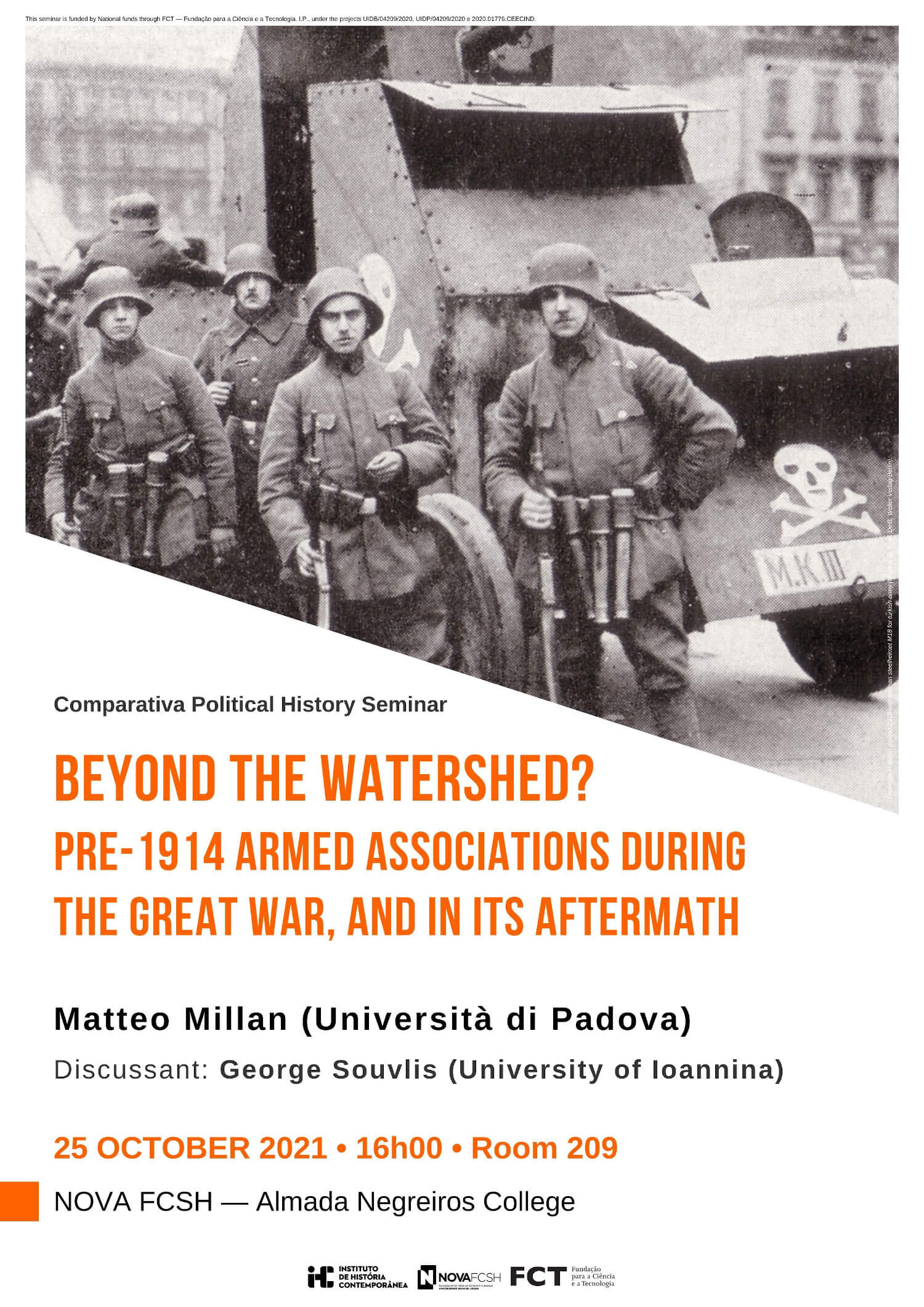 """Cartaz do seminário """"Beyond the watershed? Pre-1914 armed associations during the Great War, and in its aftermath"""""""