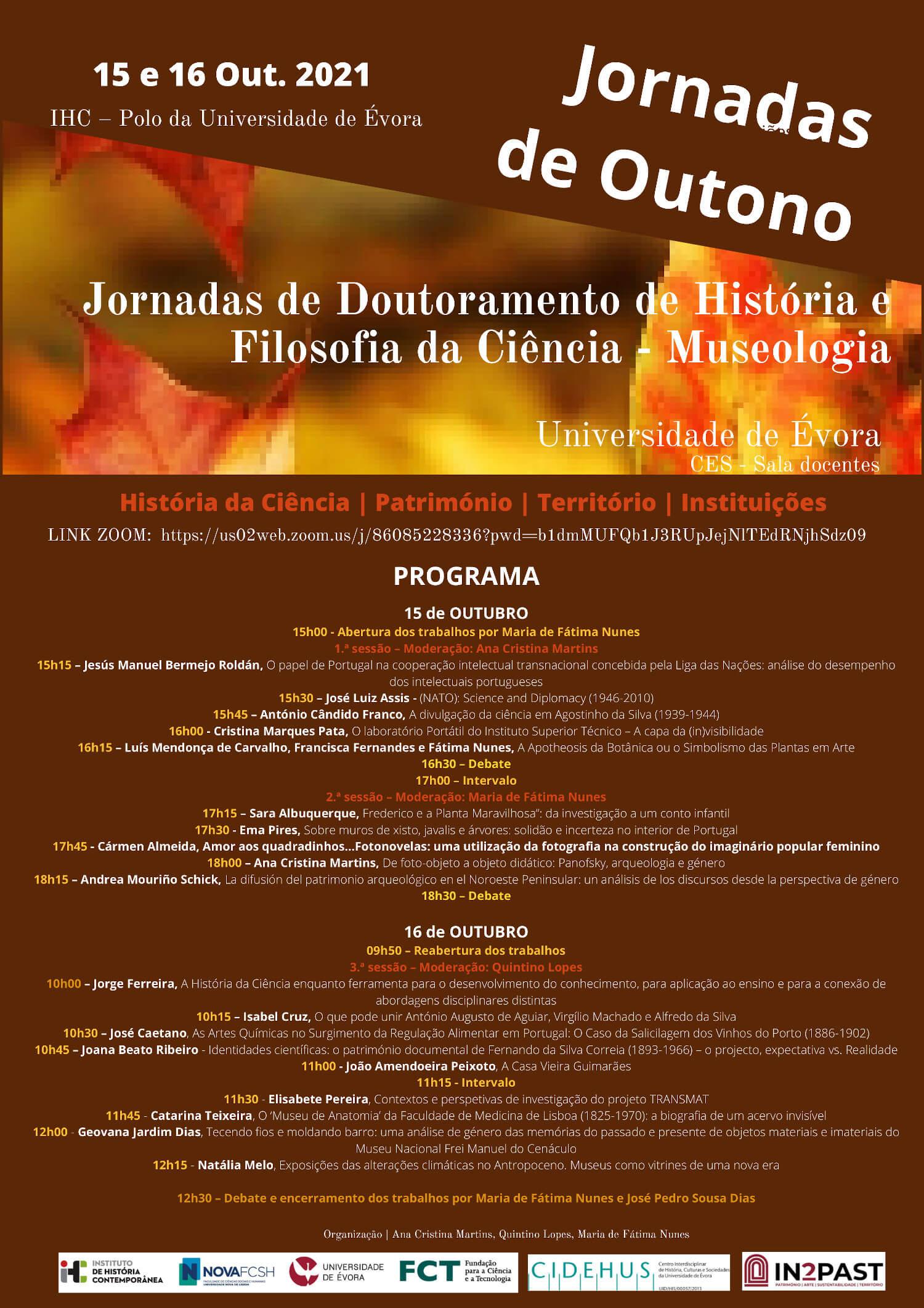Cartaz e programa das Jornadas Científicas de Outono do CEHFCi