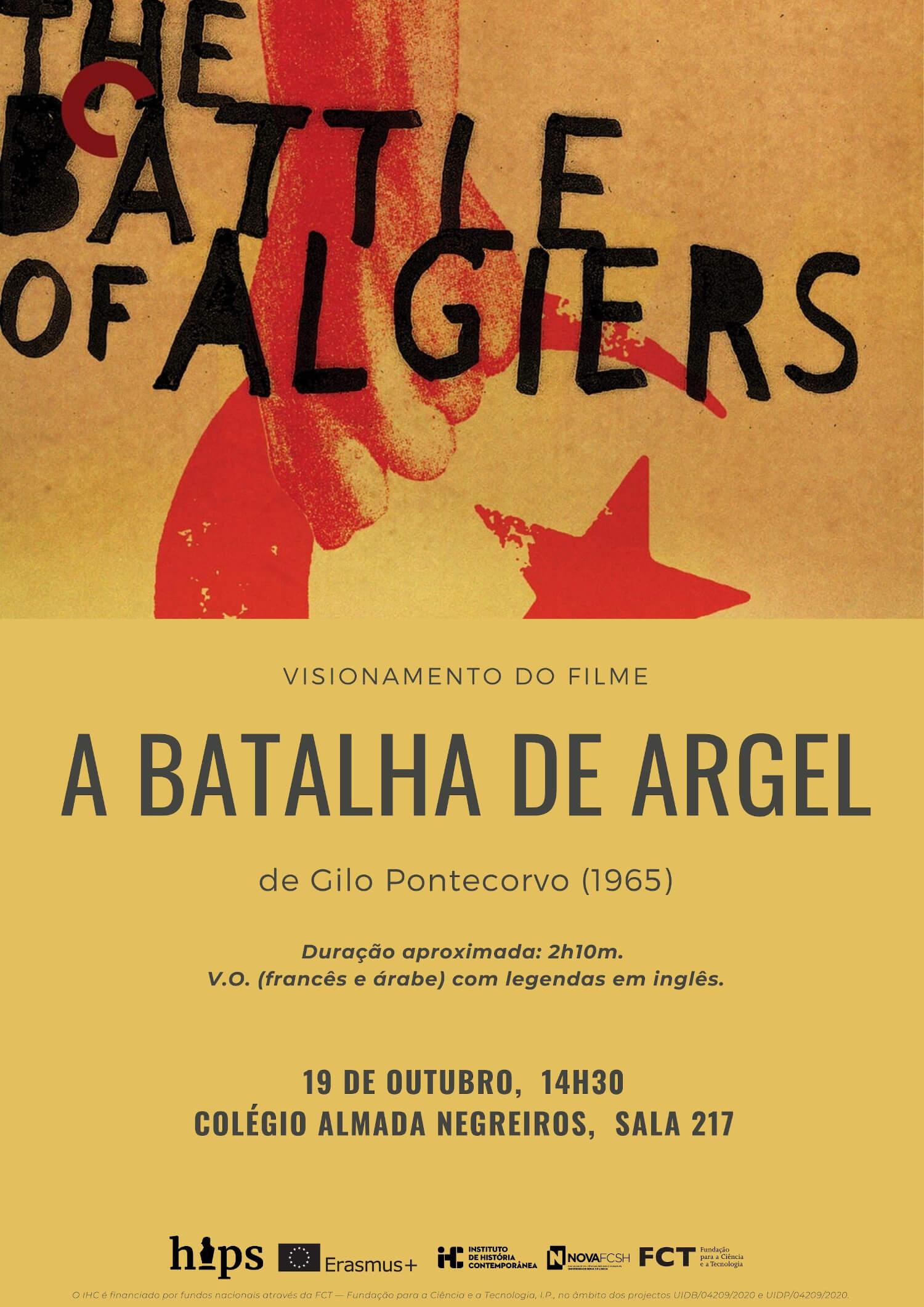 """Cartaz da sessão de projecção do filme """"A Batalha de Argel"""""""