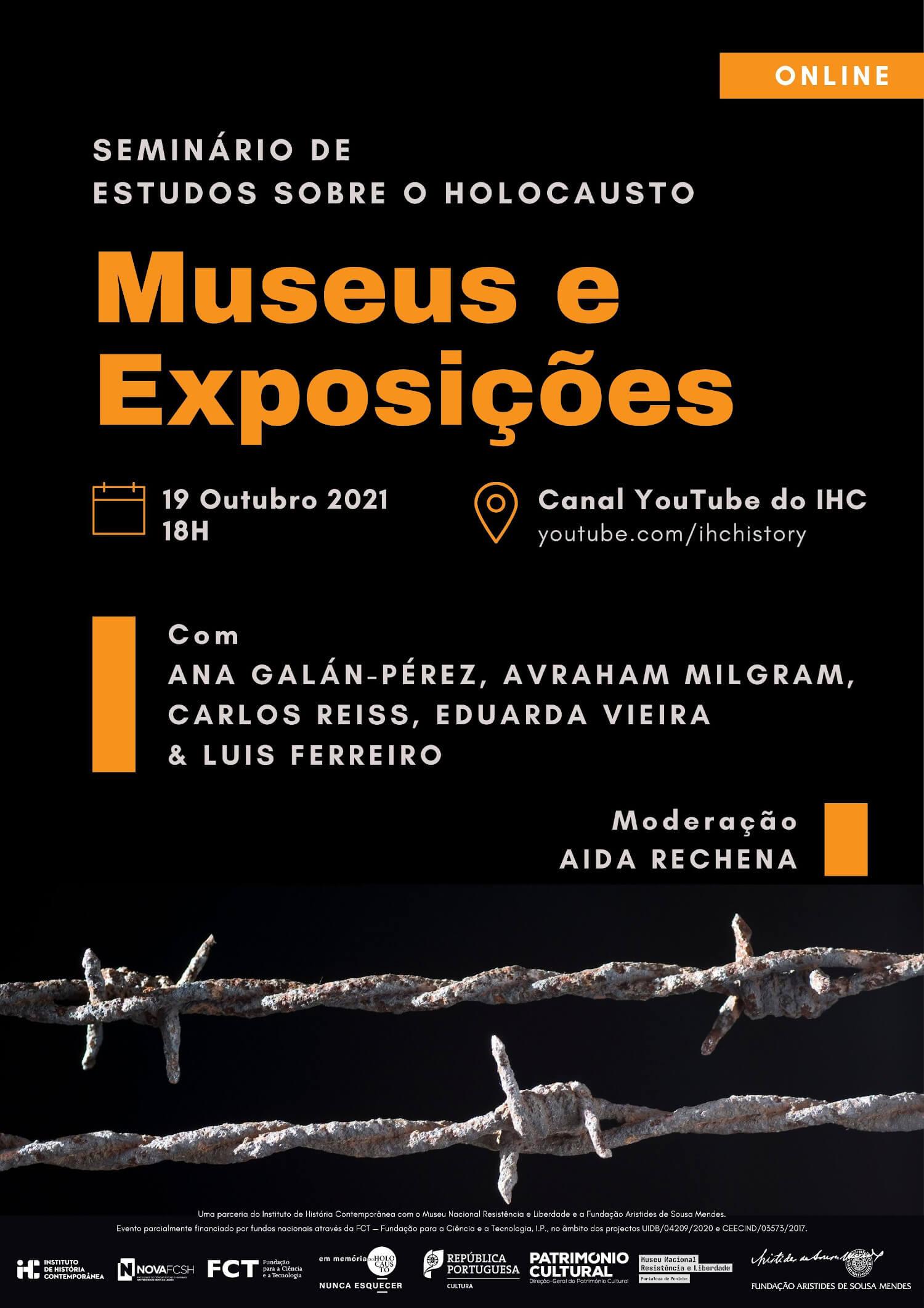 """Cartaz do seminário de estudos sobre o Holocausto com o título """"Museus e Exposições"""""""