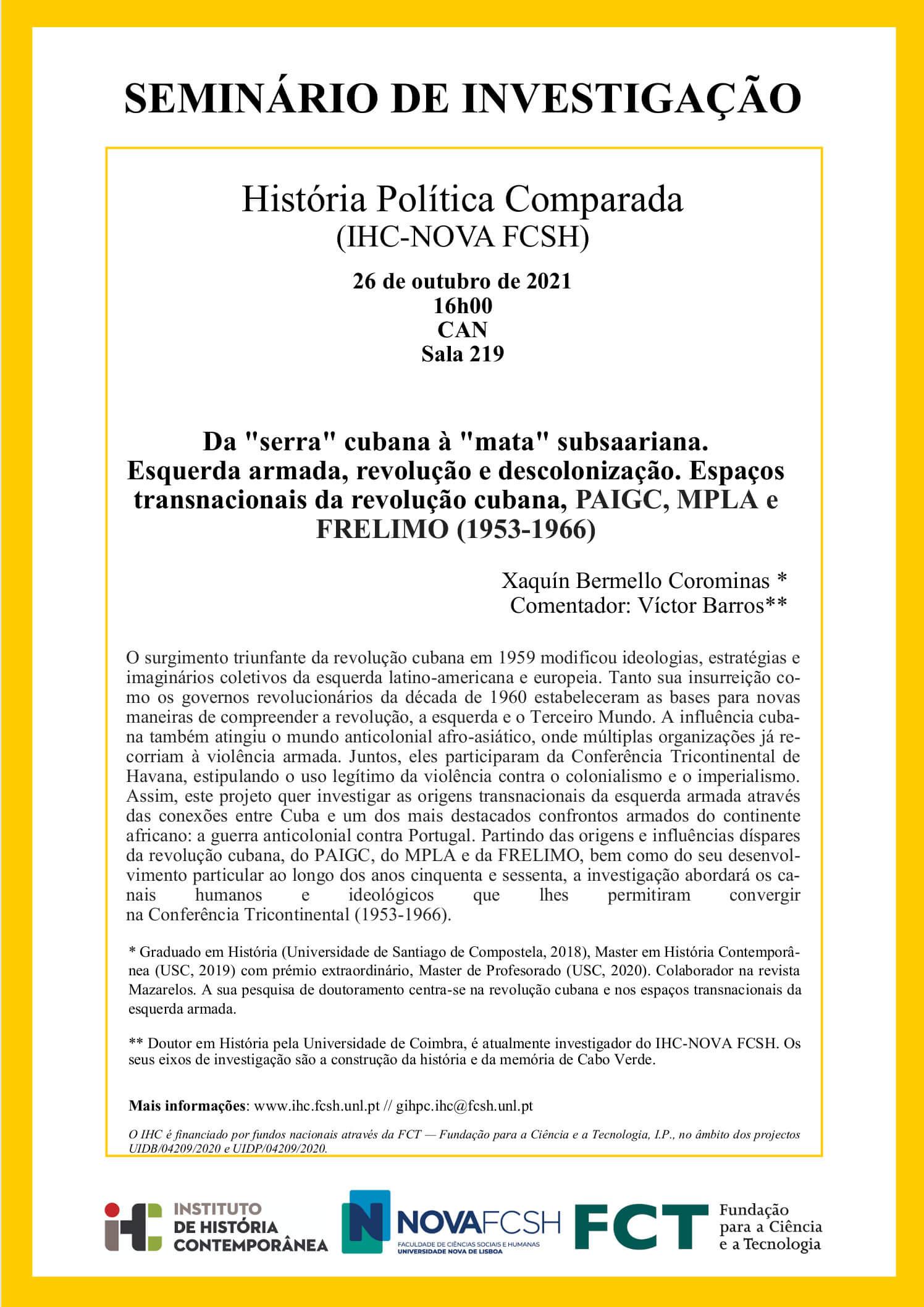 """Cartaz do seminário de investigação """"Da """"serra"""" cubana à """"mata"""" subsaariana"""""""