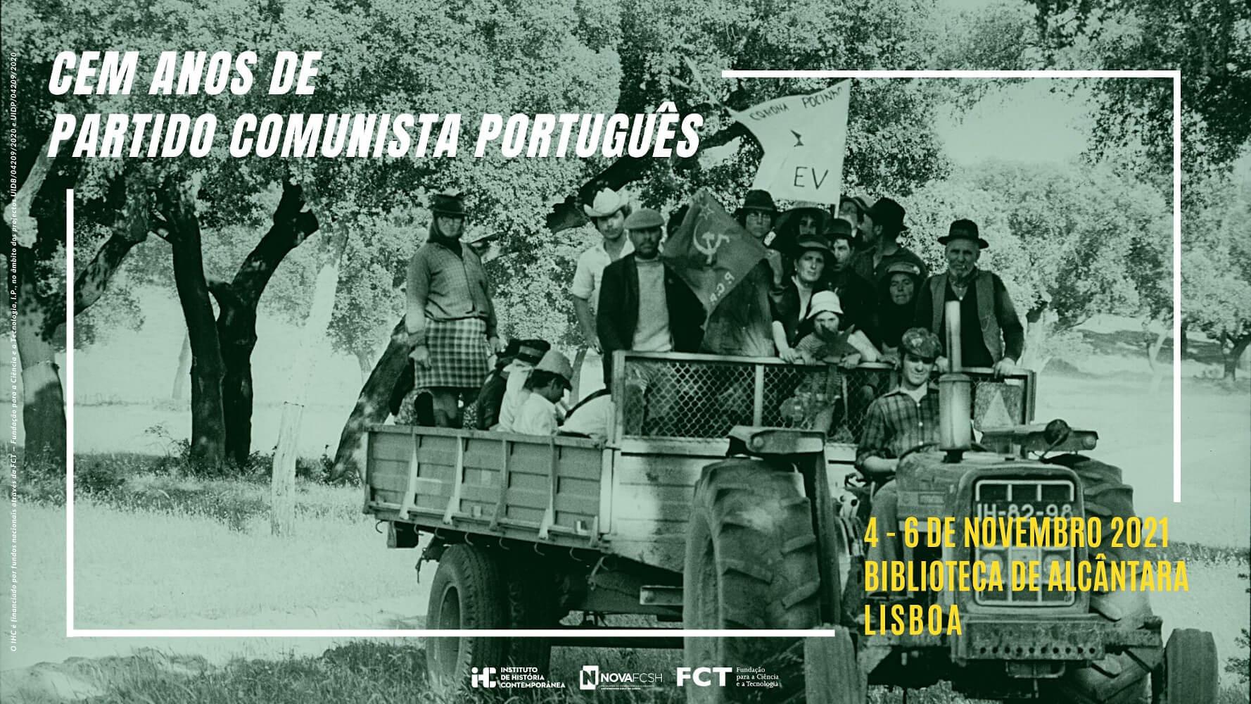 """Cartaz do colóquio """"Cem anos de Partido Comunista Português"""""""